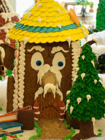 Gingerbread house in  historical Broadmoor Hotel during the White Lights ceremony. photo