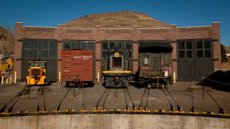 colorado railroad museum: Old round house with turn table. Editorial