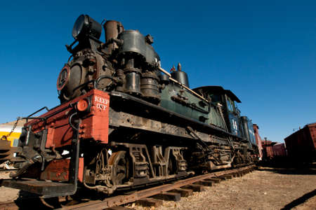 colorado railroad museum: Georgetown Loop steam locomotove at the end of the tracks.