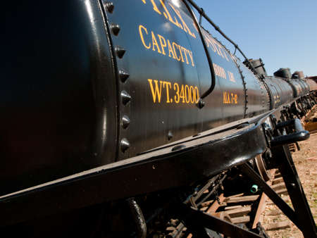 colorado railroad museum: This tank car carried crude oil from the oil fields of Farmington and Chama, New mexico to refineries in Alamosa, Colorado during the 1940s and 1950s. Editorial