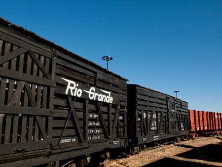 boxcar train: Denver & Rio Grande Western No. 5666 (N) stock car for transporting cattle adn sheep. Editorial