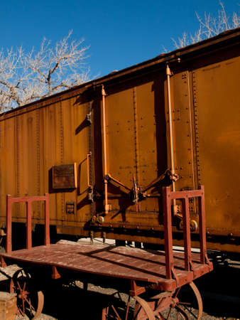 colorado railroad museum: Old metal boxcar at the local train station. Editorial