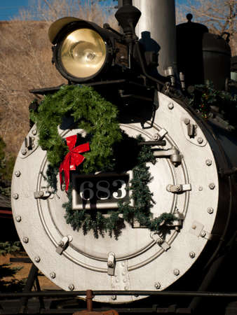 colorado railroad museum: Rio Grande Western 683 locomotive is decorated for Christmas. This is the oldest operating locomotive in Colorado built by Baldwin in 1881.