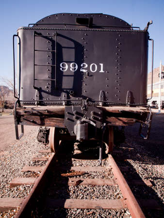 colorado railroad museum: Vintage coal car on railroad tracks. Editorial