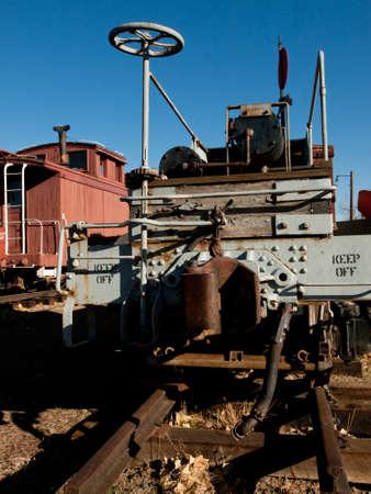 colorado railroad museum: Old railroad car on the tacks.
