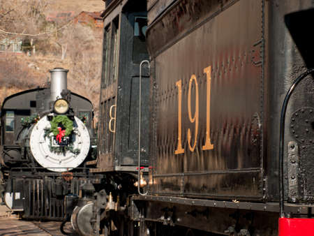 Rio Grande occidentale locomotiva 683 � decorato per Natale. Questa � la pi� antica locomotiva operativo in Colorado costruito da Baldwin nel 1881.