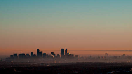 A view of downtown Denver right before sunrise. photo