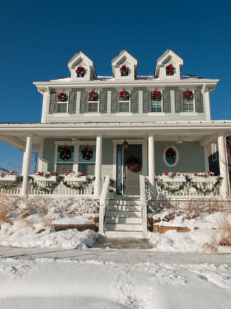 House decorated for winter holidays. Stock Photo - 11458850