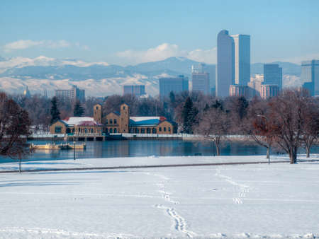 A view of downtown Denver in snow. photo