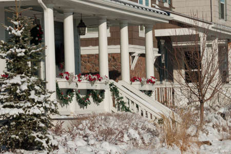 christmas in denver: House decorated for winter holidays.