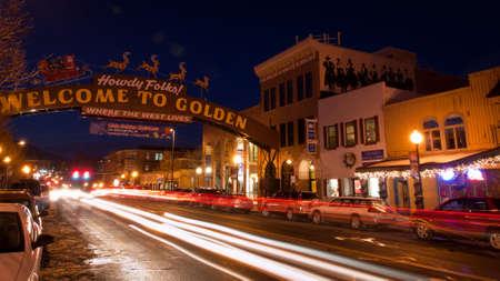 denver at christmas: Olde Golden Christmas Candlelight Walk. Main street of Golden, Colorado.