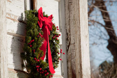 Old house decorated for the winter holidays. photo