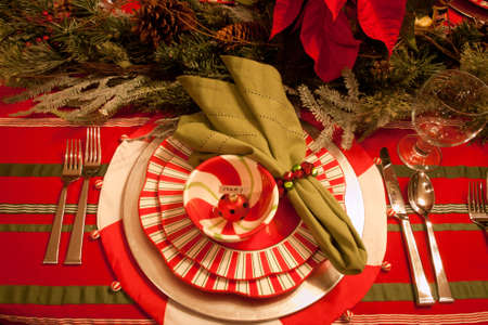 napkin ring: A table set for a holiday meal.