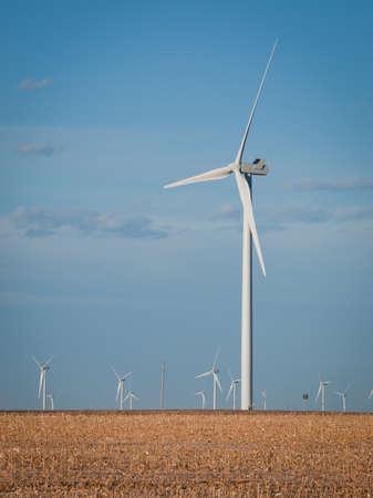 Wind turbines farm at sunset in Limon, Colorado. Stock Photo - 11476548