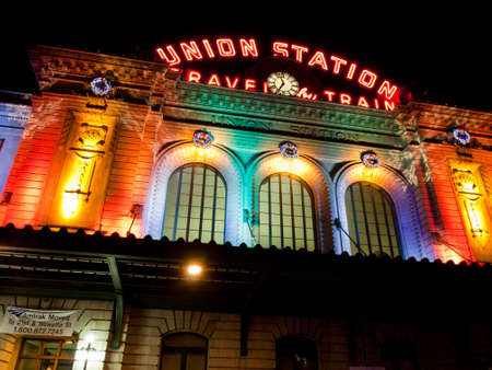 denver at christmas: Union Station decorated with light for Christmas.