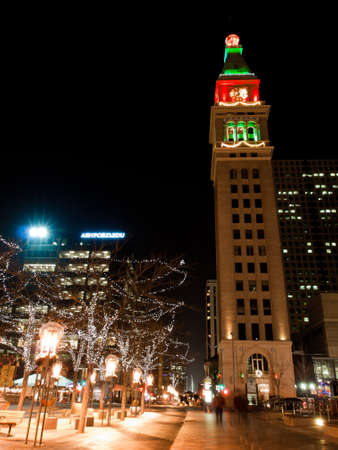 16th street mall: Downtown Denver at Christmas. 16th Street Mall lit up for the holidays.