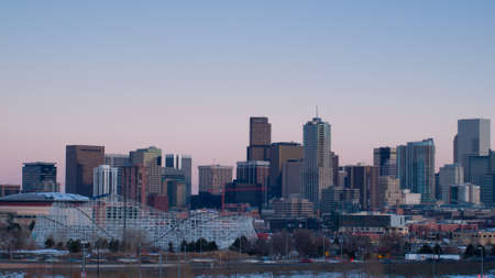 mile high city: A view of Denver, Colorado downtown at sunset.