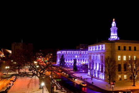Downtown Denver at Christmas. Denvers City and County building decorated with holiday lights. Stock Photo