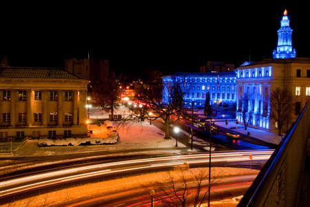 denver city and county building: Downtown Denver at Christmas. Denvers City and County building decorated with holiday lights. Stock Photo