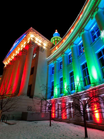 denver at christmas: Downtown Denver at Christmas. Denvers City and County building decorated with holiday lights. Stock Photo