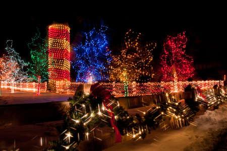 christmas in denver: Trail of Lights at Denver Botanical Gardens at Chatfield. Stock Photo
