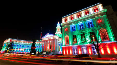 Downtown Denver at Christmas. Denvers City and County building decorated with holiday lights. photo