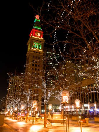 denver 16th street mall: Downtown Denver at Christmas. 16th Street Mall lit up for the holidays.