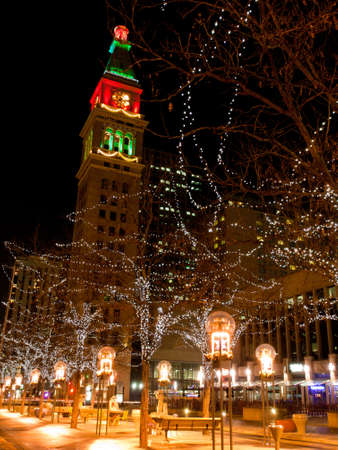 Downtown Denver at Christmas. 16th Street Mall lit up for the holidays. Stock Photo - 11491873