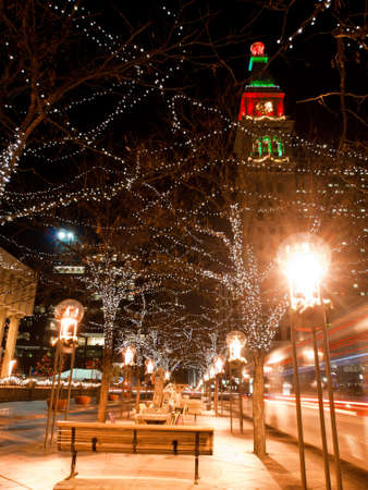 christmas in denver: Downtown Denver at Christmas. 16th Street Mall lit up for the holidays.