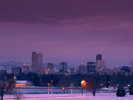 denver skyline: A view of downtown Denver before sunrise.