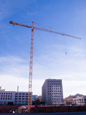 Construction site with crane in downtown Denver.