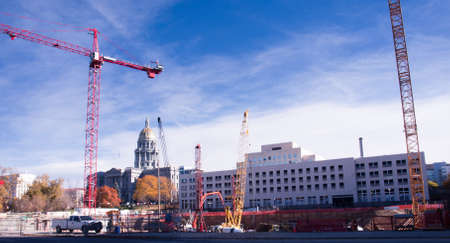 Construction site with crane in downtown Denver. photo