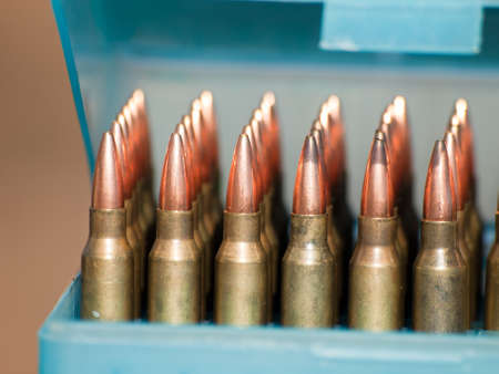Row of bullets in the box. 版權商用圖片
