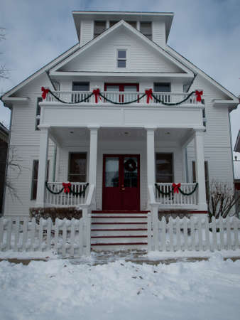 House decorated for winter holidays.