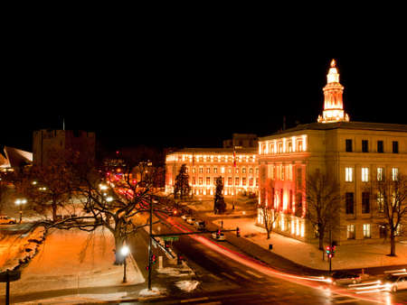 Downtown Denver at Christmas. Denvers City and County building decorated with holiday lights. Editorial