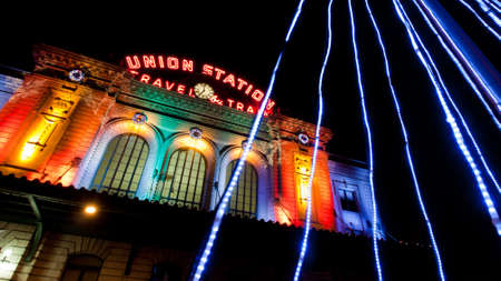 christmas in denver: Union Station decorated with light for Christmas.