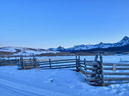 The Last Dollar Ranch in winter with a view of the Dallas Divide on the back. photo