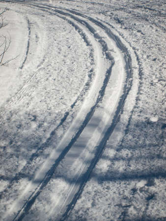 Tracks from the cross coutry skiers in fresh snow.