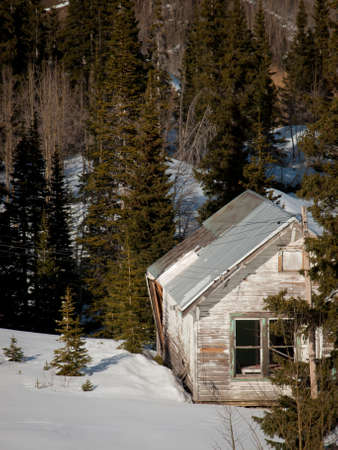 old mining building: Abandon mining town near Ouray, Colorado. Stock Photo