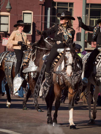 The 2012 National Western Stock Show Parade, travels up 17 Street in downtown Denver, Colorado. Stock Photo - 12001681