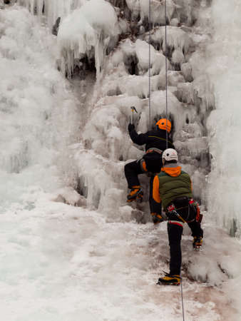 Ice climbing lesson in Ice Park, Ouray.