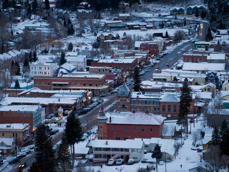 ouray: Overlook of downtown Ouray in winter.