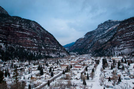 Overlook of downtown Ouray in winter. photo