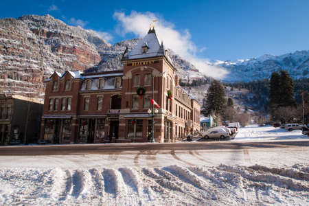 Old hotel in small mountain town of Ouray, Colorado.
