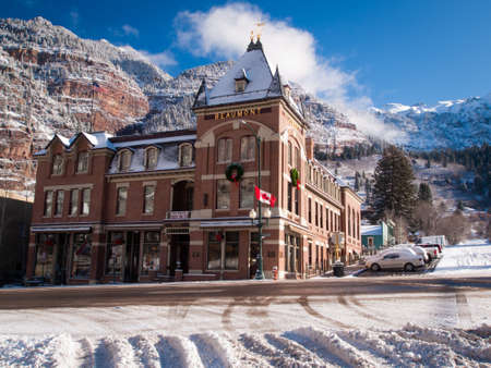 ouray: Old hotel in small mountain town of Ouray, Colorado.