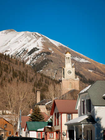 silverton: A view of town Silverton in winter. Editorial