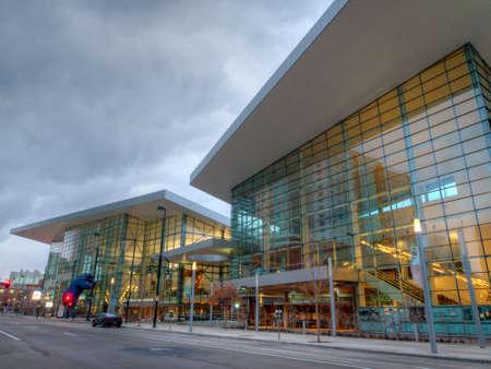 Colorado Convention Center at blue hour.