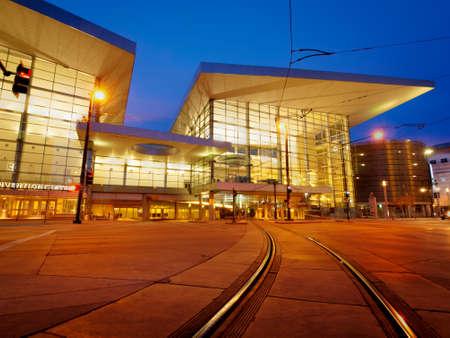 moders: Colorado Convention Center at blue hour.