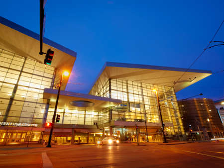 16th street mall: Colorado Convention Center at blue hour.