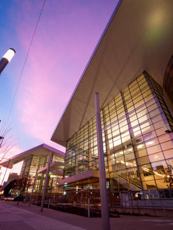 denver city skyline: Colorado Convention Center at blue hour.